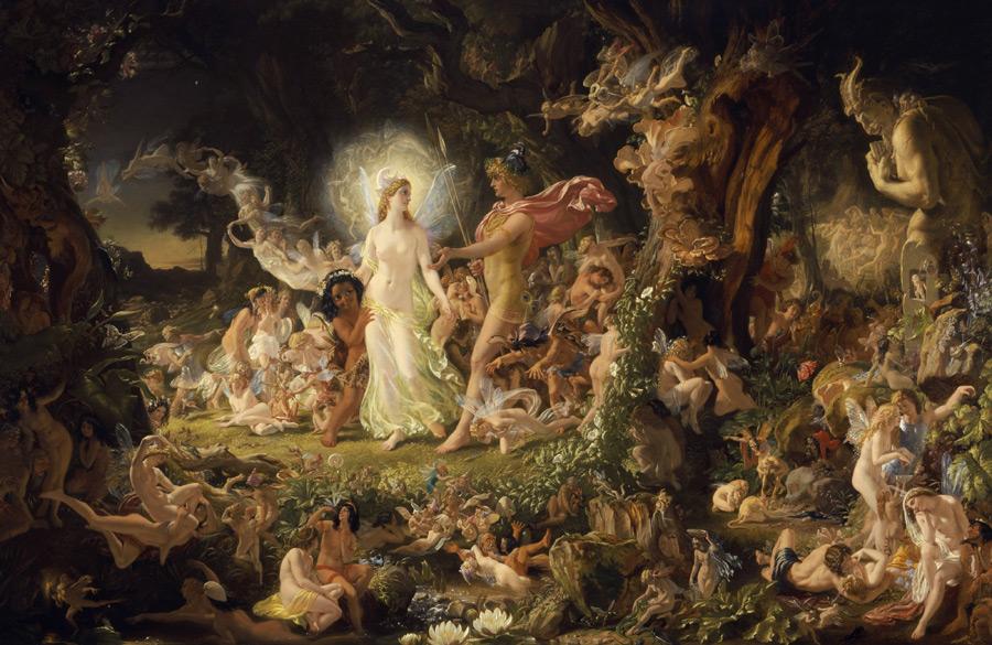 フリー 絵画ジョゼフ・ノエル・ペイトン作「オーベロンとタイターニアの喧嘩」