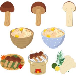 フリーイラスト, ベクター画像, EPS, 食べ物(食料), 食用キノコ, 茸(キノコ), 菌類, 松茸(マツタケ), 料理, 松茸料理, キノコ料理, 日本料理, 和食, 秋