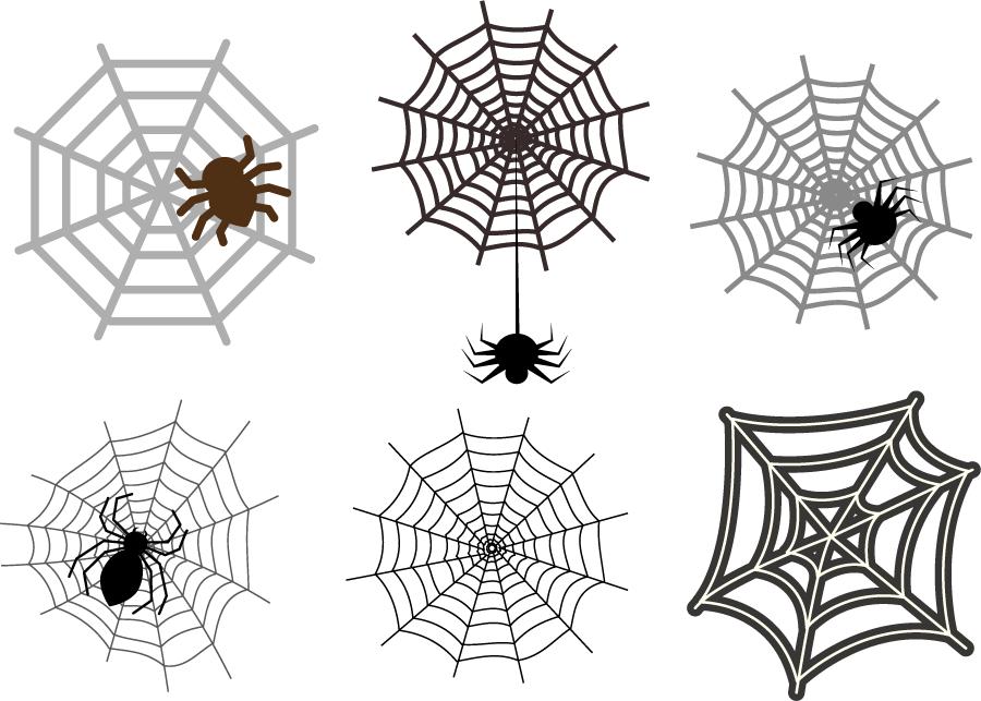 フリー イラスト6種類のクモの網のセット