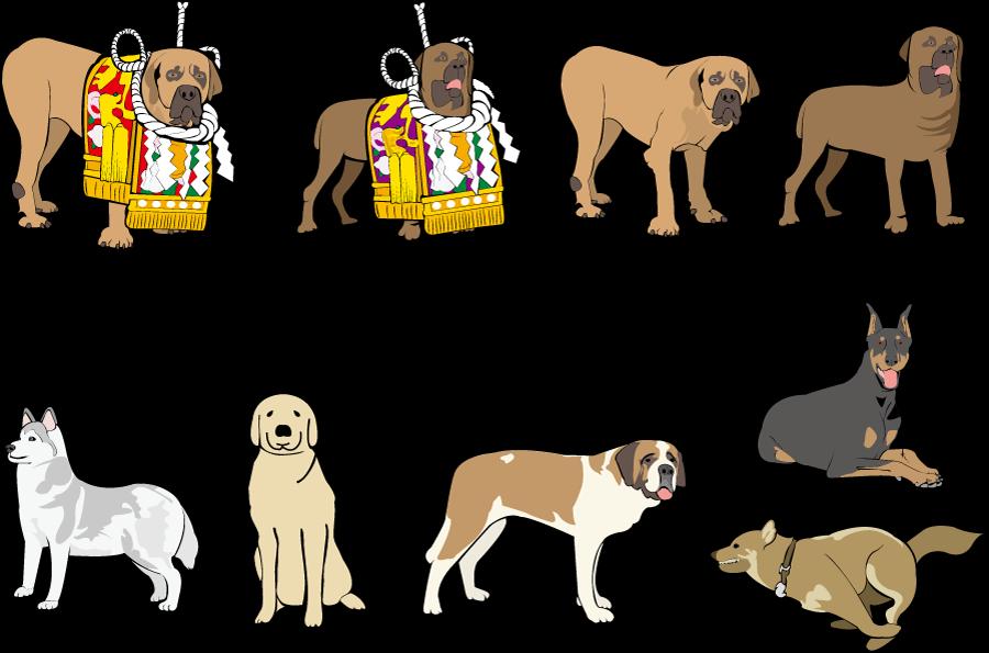 フリーイラスト 土佐犬などの犬のセット