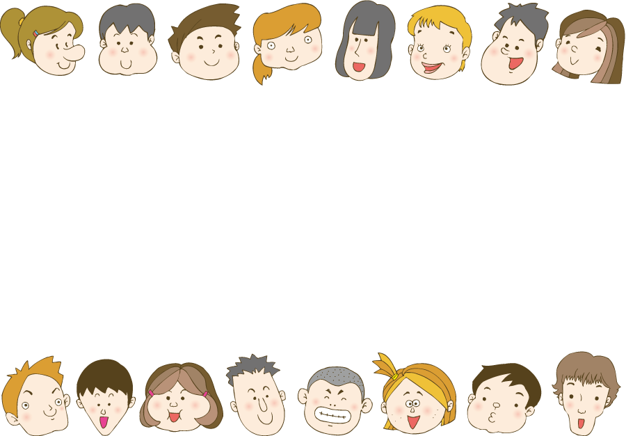 フリーイラスト 子供達の顔のフレーム