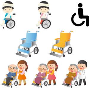 フリーイラスト, ベクター画像, EPS, 車椅子, 医療機器, 福祉用具, 怪我, 包帯, ギブス, ピクトグラム, 介護, 介護職員, 訪問介護員(ホームヘルパー), 男性, 女性, 老人, 祖父(おじいさん), 祖母(おばあさん)