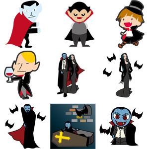 フリーイラスト, ベクター画像, EPS, 吸血鬼(ヴァンパイア), ドラキュラ, 怪物, コウモリ
