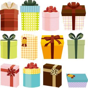 フリーイラスト, ベクター画像, EPS, プレゼント, プレゼント箱, 蝶リボン, ラッピングリボン