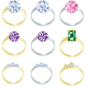 フリーイラスト, ベクター画像, EPS, 指輪, レディースファッション, 宝石, ダイヤモンド, エメラルド, ピンクサファイア, アメジスト