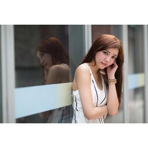 フリー写真, 人物, 女性, アジア人女性, 中国人, Kaka(00044), 鏡像