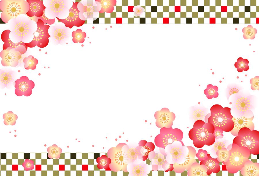 フリーイラスト 梅の花の新春のフレーム