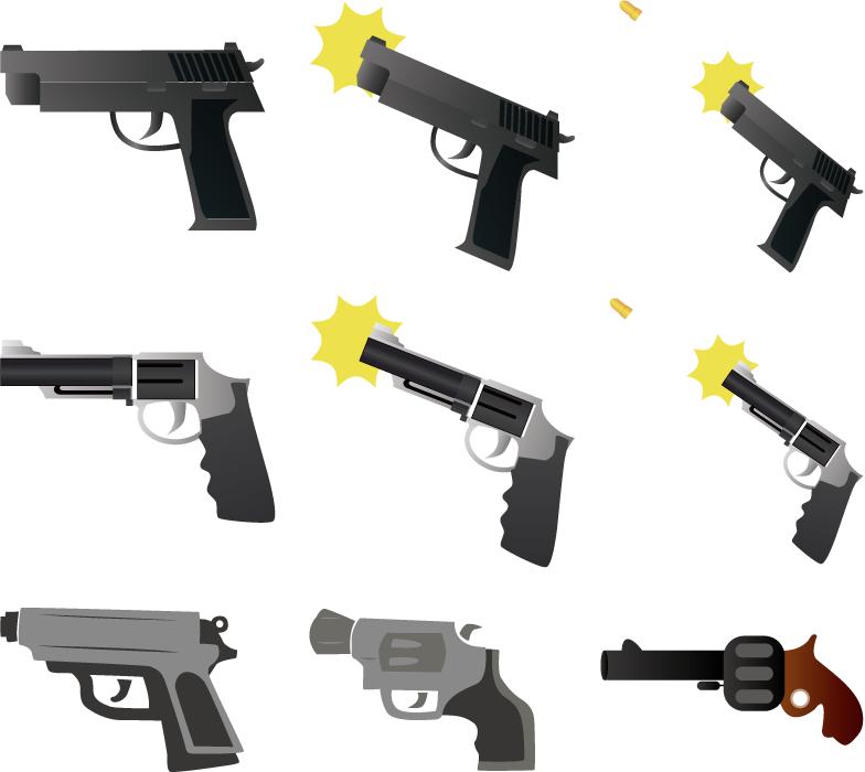 フリーイラスト 9種類の拳銃のセット