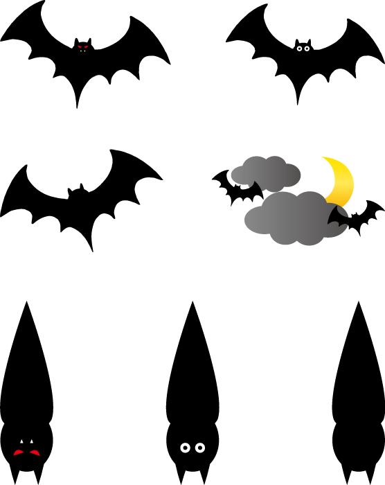 フリーイラスト 7種類のコウモリのセット