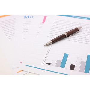 フリー写真, ビジネス, 書類, グラフ, データ, ボールペン, 筆記用具, 文房具