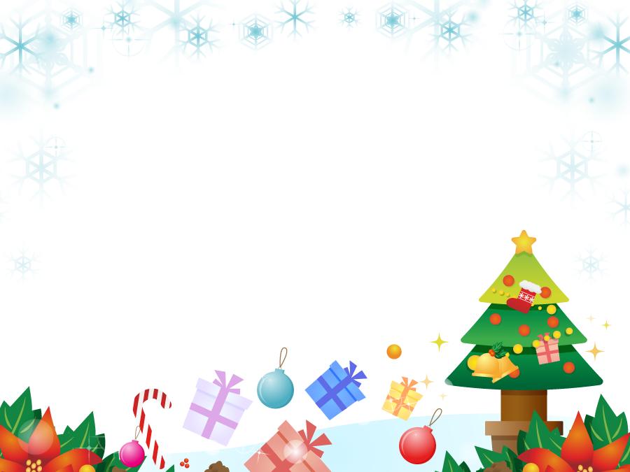 フリーイラスト 雪の結晶とクリスマスツリーとプレゼントのフレーム