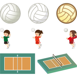 フリーイラスト, ベクター画像, EPS, スポーツ, 球技, バレーボール, ボール
