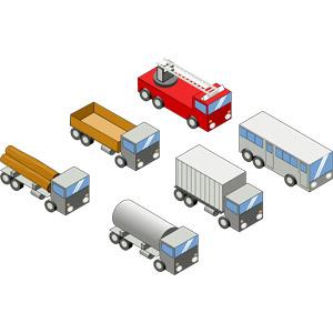 フリーイラスト, ベクター画像, SVG, 乗り物, 自動車, 貨物自動車, トラック, トレーラー, タンクローリー, バス, はしご車, 消防車
