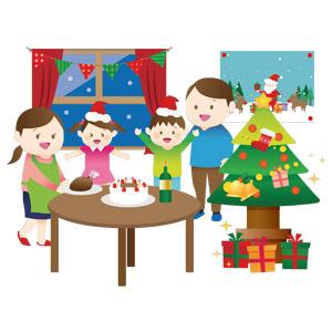 フリーイラスト, ベクター画像, AI, 人物, 家族, 親子, 年中行事, クリスマス, 12月, 冬, クリスマスツリー, クリスマスプレゼント, クリスマスケーキ, シャンパン, ローストチキン, 父親(お父さん), 母親(お母さん), 息子, 娘, 喜ぶ(嬉しい)