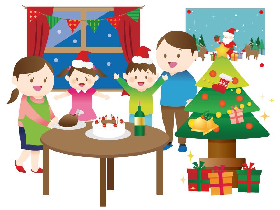 フリーイラスト クリスマスを祝う家族