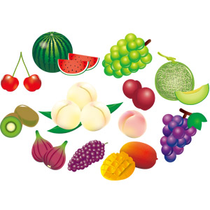 フリーイラスト, ベクター画像, AI, 食べ物(食料), 果物(フルーツ), 葡萄(ブドウ), マスカット, 西瓜(スイカ), メロン, 桃(モモ), すもも(スモモ), イチジク, マンゴー, キウイ, さくらんぼ(サクランボ)