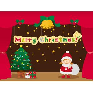 フリーイラスト, ベクター画像, AI, 背景, 年中行事, クリスマス, 12月, サンタの衣装, クリスマスツリー, 舞台(ステージ), クリスマスプレゼント, クリスマスベル, メリークリスマス