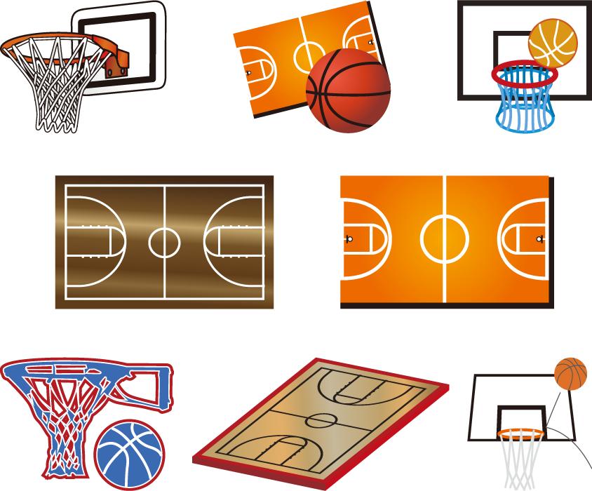 フリーイラスト 8種類のバスケットリングとバスケットコート