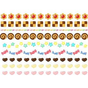 フリーイラスト, ベクター画像, AI, 飾り罫線(ライン), 食べ物(食料), 菓子, クッキー(ビスケット), 飴(キャンディ), ゼリービーンズ, ハート, チョコレート