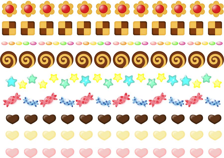 フリーイラスト 9種類のお菓子のラインセット