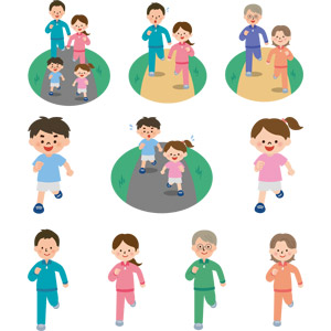 フリーイラスト, ベクター画像, EPS, 人物, 家族, 親子, 父親(お父さん), 母親(お母さん), 子供, 息子, 娘, 男の子, 女の子, 祖父(おじいさん), 祖母(おばあさん), 運動, フィジカルトレーニング, ジョギング, 走る, マラソン