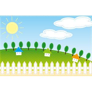 フリーイラスト, ベクター画像, EPS, 風景, 牧場, 丘, 太陽, 青空, 住宅, 家(一軒家), 柵(フェンス), 田舎