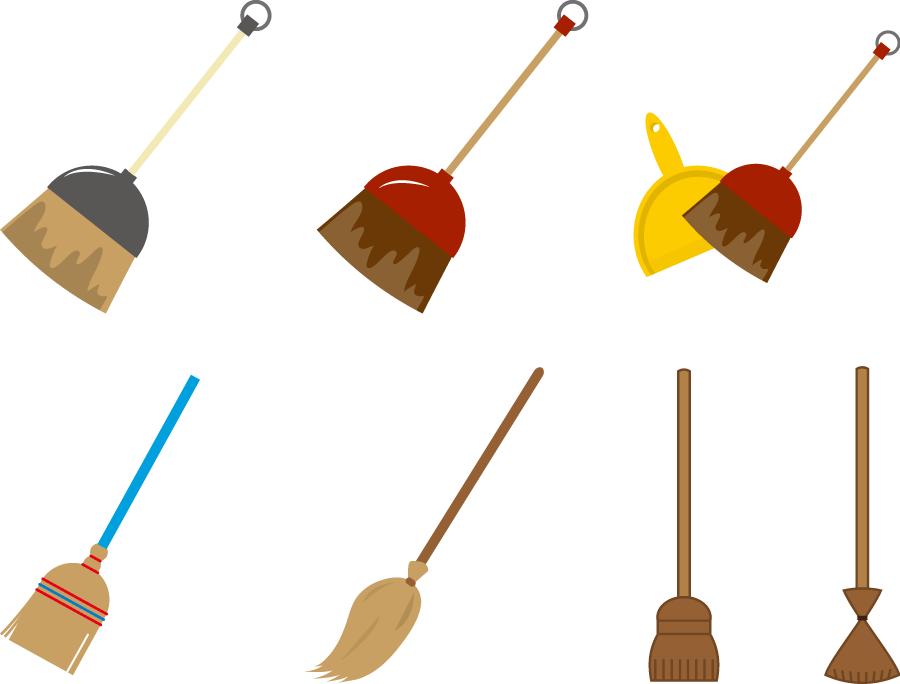 フリーイラスト 7種類の箒のセット