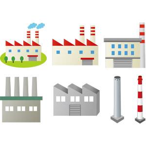 フリーイラスト, ベクター画像, EPS, 建造物, 建築物, 工場, 煙突