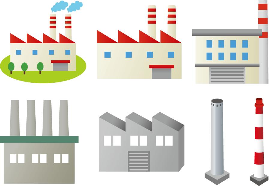 フリーイラスト 7種類の工場と煙突のセット