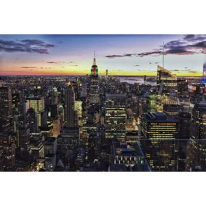 フリー写真, 風景, 建造物, 建築物, 高層ビル, 都市, 街並み(町並み), エンパイア・ステート・ビルディング, アメリカの風景, ニューヨーク, 夕暮れ(夕方), 夕焼け