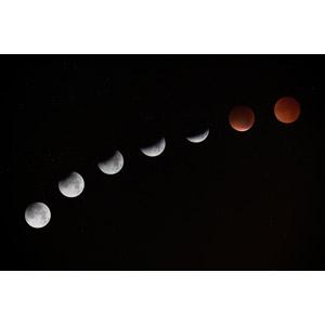 フリー写真, 風景, 自然, 夜空, 夜, 月, 月食