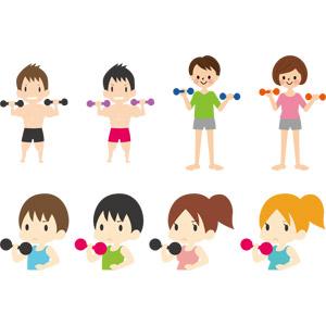 フリーイラスト, ベクター画像, EPS, 人物, 女性, 男性, 運動, フィジカルトレーニング, 筋トレ, ダンベル