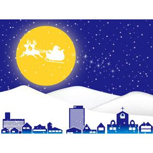 フリーイラスト, ベクター画像, AI, 背景, 年中行事, クリスマス, 12月, 冬, 雪, 街並み(町並み), 夜, 月, 満月, サンタクロース, トナカイ, ソリ