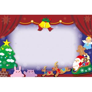 フリーイラスト, ベクター画像, AI, 背景, 年中行事, クリスマス, 12月, 冬, フレーム, 囲みフレーム, クリスマスベル, クリスマスツリー, トナカイ, サンタクロース, ソリ, ジンジャーブレッドマン, 天使(エンジェル)