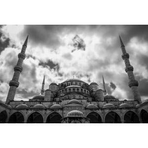 フリー写真, 風景, 建造物, 建築物, モスク, スルタンアフメト・モスク(ブルーモスク), 世界遺産, トルコの風景, イスタンブール, モノクロ, 雲