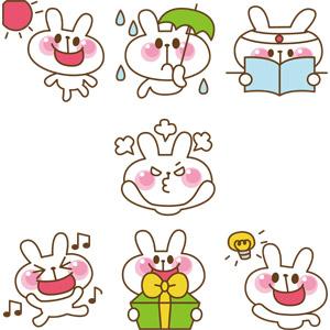 フリーイラスト, ベクター画像, EPS, 動物, 哺乳類, 兎(ウサギ), うさぎ(00049), 晴れ, 雨, 傘, 勉強(学習), 怒る(動物), 喜ぶ(動物), プレゼント, 閃く, 踊る(ダンス)