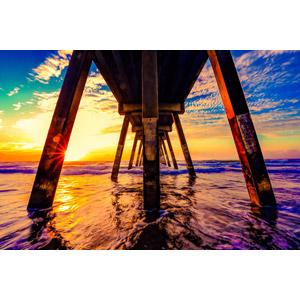 フリー写真, 風景, 建造物, 桟橋, 海, 夕暮れ(夕方), 夕焼け, 夕日