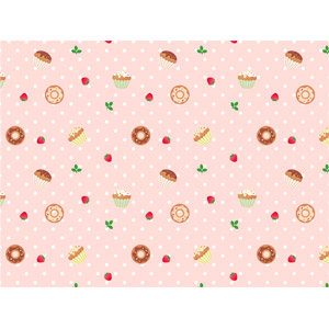 フリーイラスト, ベクター画像, EPS, 背景, 食べ物(食料), 菓子, 洋菓子, スイーツ, カップケーキ, ドーナツ, 苺(イチゴ), 水玉模様(ドット柄)