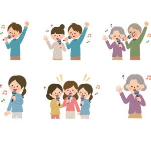 フリーイラスト, ベクター画像, EPS, カラオケ, 歌う, マイク, 人物, 女性, 男性, 老人, 祖父(おじいさん), 祖母(おばあさん), 音楽, 宴会
