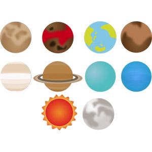 フリーイラスト, ベクター画像, AI, 天体, 惑星, 水星, 金星, 地球, 火星, 木星, 土星, 天王星, 海王星, 太陽, 月