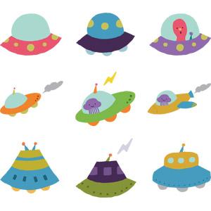 フリーイラスト, ベクター画像, EPS, 乗り物, UFO, 宇宙人, 宇宙船