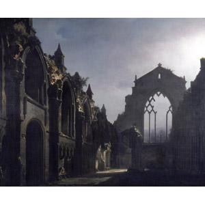 フリー絵画, ルイ・ジャック・マンデ・ダゲール, 風景画, 建造物, 建築物, 教会(聖堂), 廃墟, イギリスの風景, スコットランド
