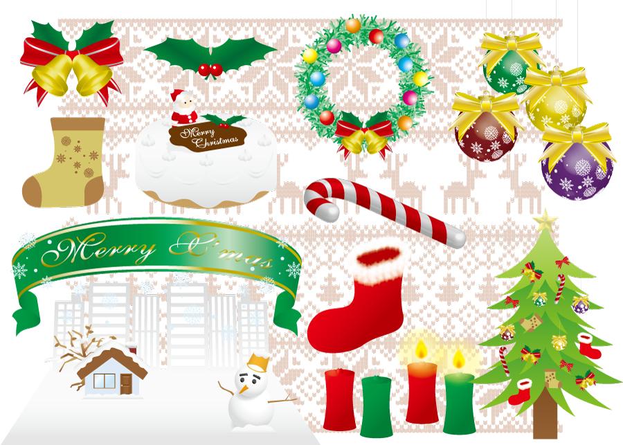 フリーイラスト クリスマスケーキやツリーのクリスマスセット