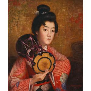 フリー絵画, 岡田三郎助, 人物画, 女性, 日本人, 和服, 着物, 音楽, 楽器, 打楽器, 鼓(つづみ), 演奏する