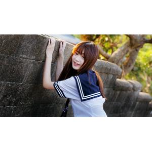 フリー写真, 人物, 少女, アジアの少女, 女性(00060), 学生(生徒), 高校生, セーラー服(学生服), 学生服