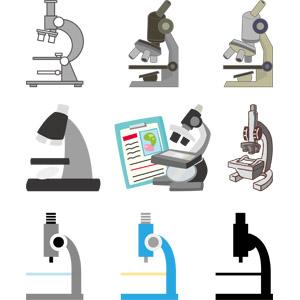 フリーイラスト, ベクター画像, EPS, 科学, 実験器具, 顕微鏡