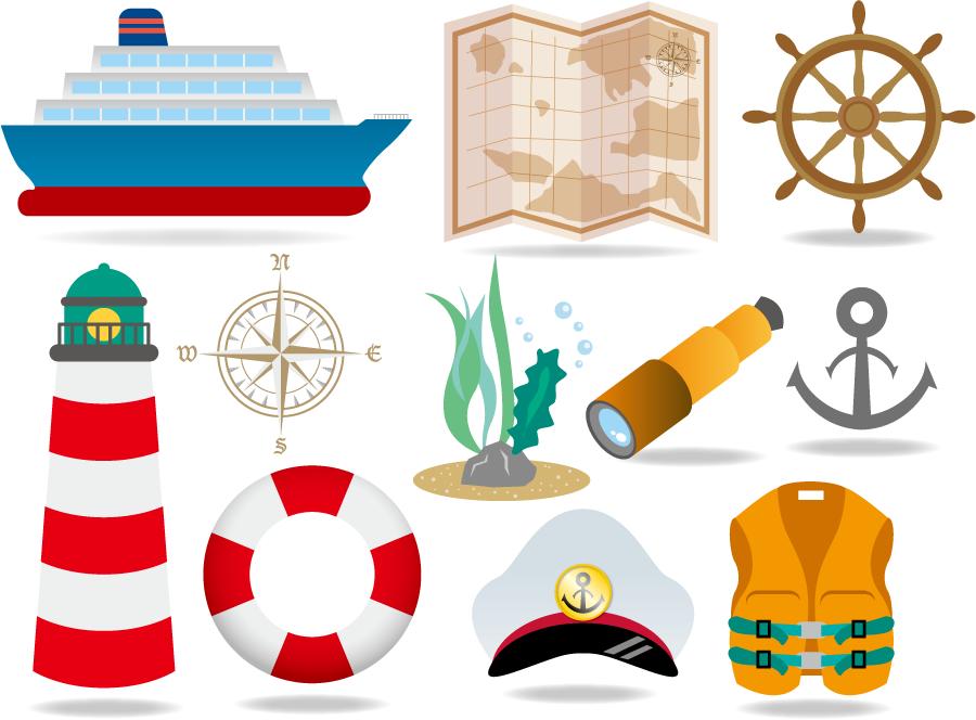 フリーイラスト 11種類の船と航海関連のセット