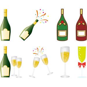 フリーイラスト, ベクター画像, AI, 飲み物(飲料), お酒, シャンパン, シャンパングラス, 瓶(ボトル), 乾杯, クリスマス