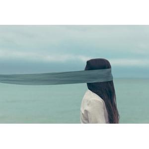 フリー写真, 人物, 女性, 目隠し, 人と風景, 海