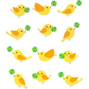 フリーイラスト, ベクター画像, AI, 動物, 鳥類, 鳥(トリ), 小鳥, クローバー(シロツメクサ), 四つ葉のクローバー
